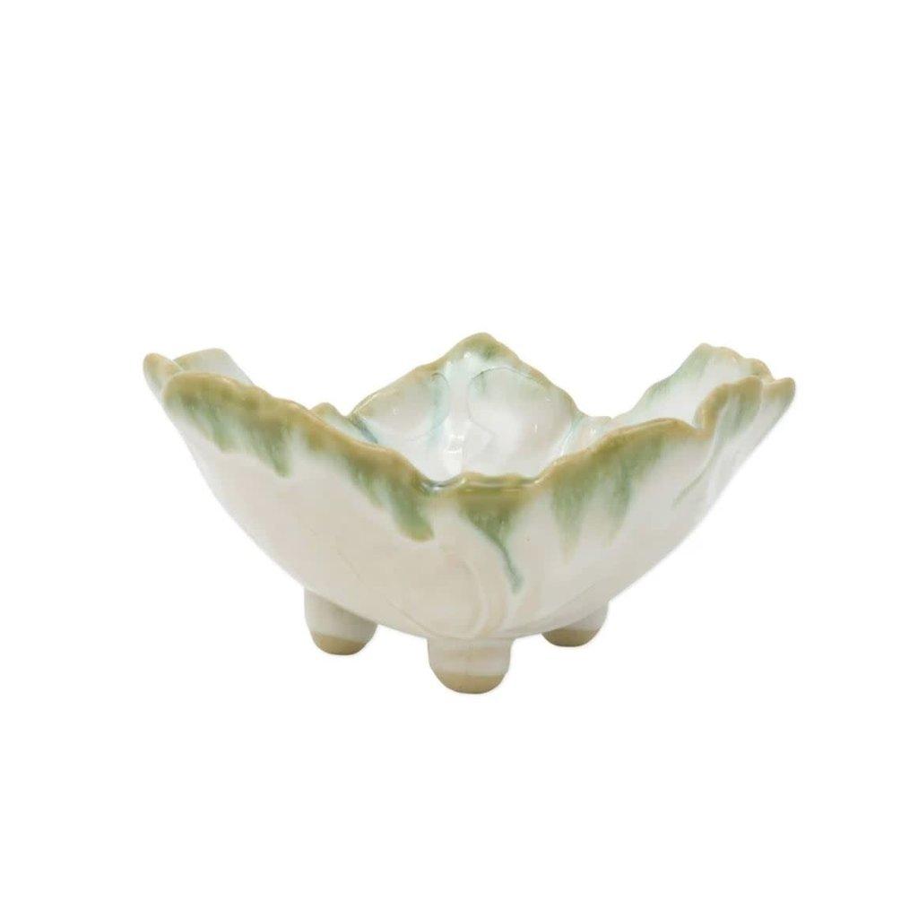 Vietri Foglia Stone White Footed Berry Bowl