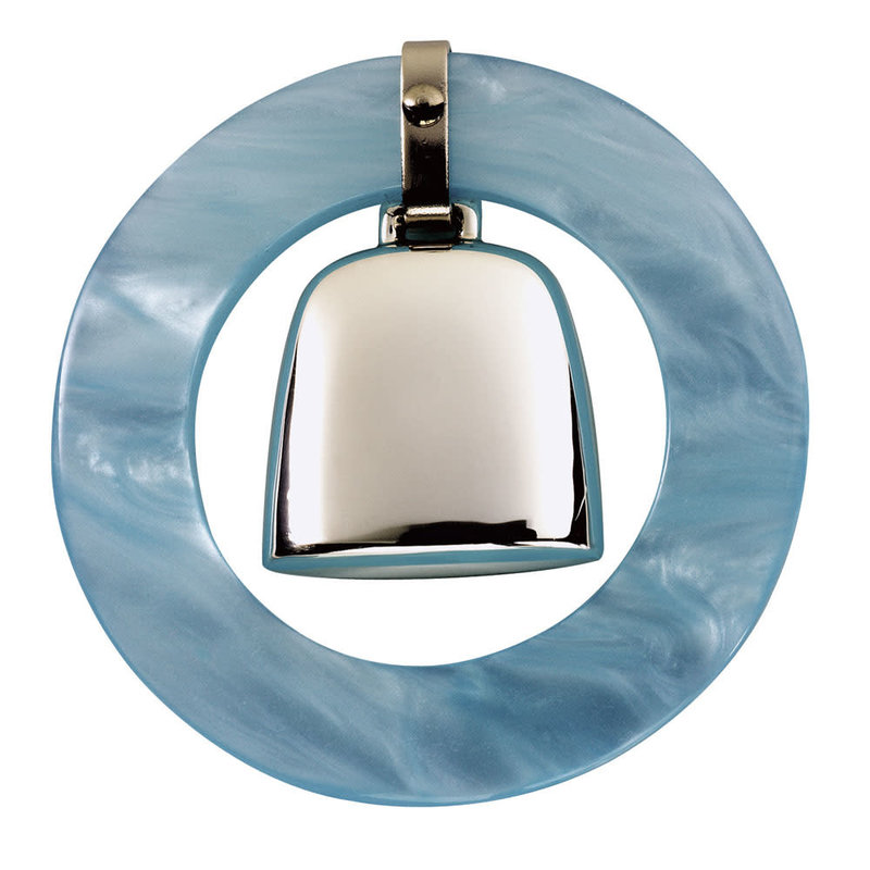 Salisbury Sterling Teething Ring Rattle Blue