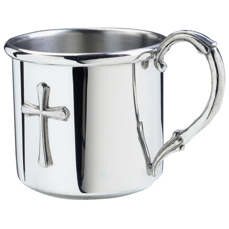Salisbury Pewter Baby Cup with Cross