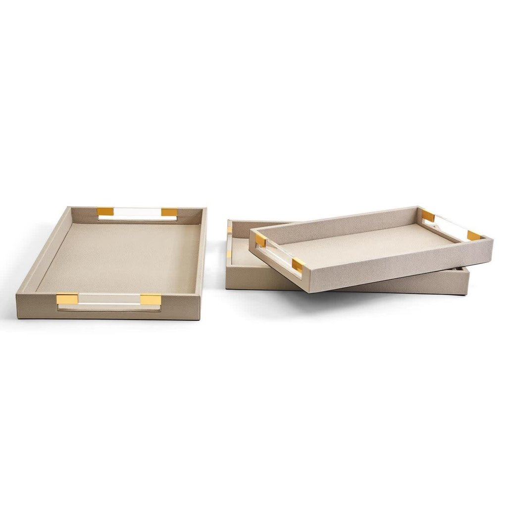"""Two's Company Taupe Tray w/ Acrylic Handles 19""""x11""""x2"""""""
