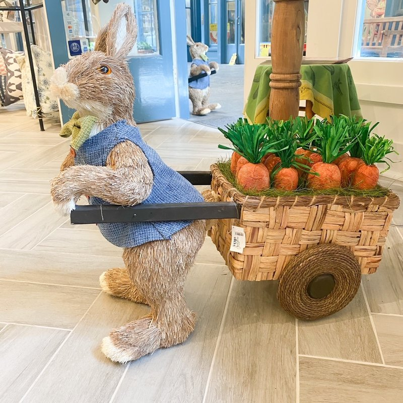 "One Hundred 80 Degrees Bunny with Cart 26""x 27"""