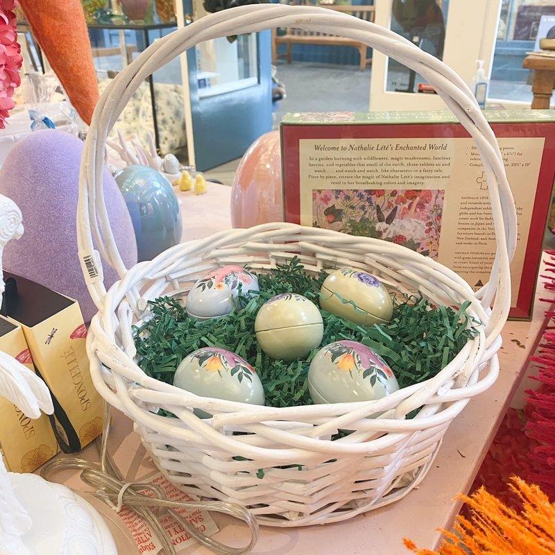 Willow Small White Round Basket