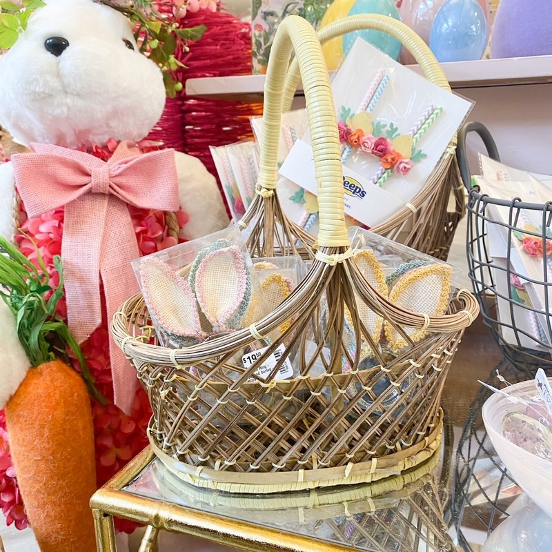 Willow Small Oval Basket with Yellow