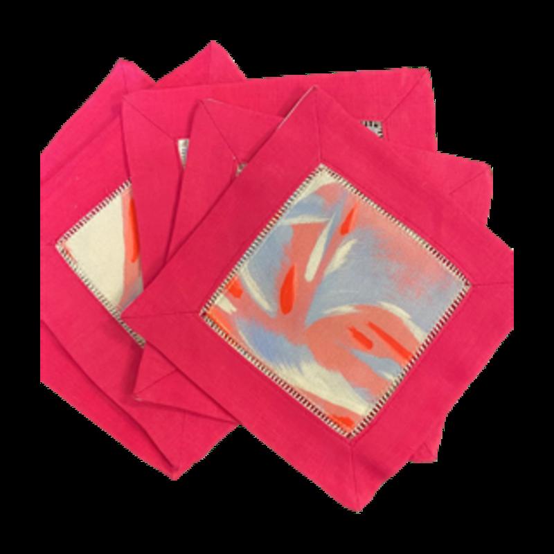 Amanda Talley Amanda Talley Set of 6 Cocktail Napkins Pink with Blue