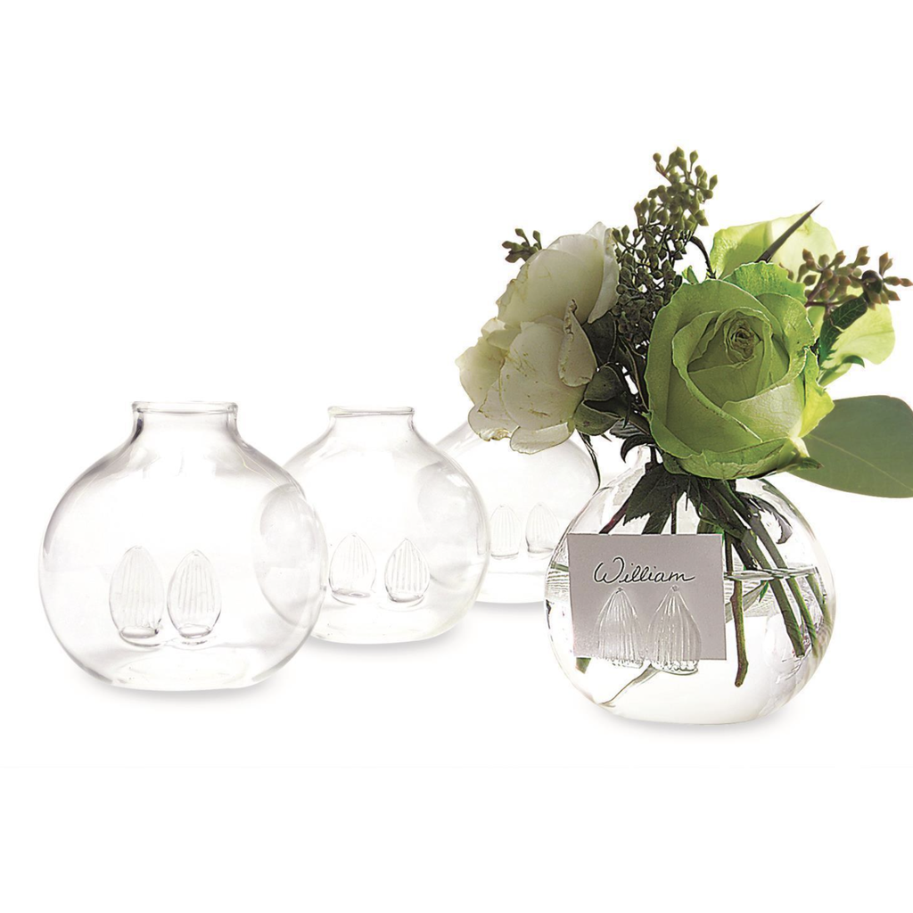 Two's Company Be Seated Set of 4 Bud Vases/Place Card Holders in Gift Box - Hand-Blown Glass