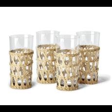 Two's Company Island Chic Hand-Woven Lattice Highball Glass