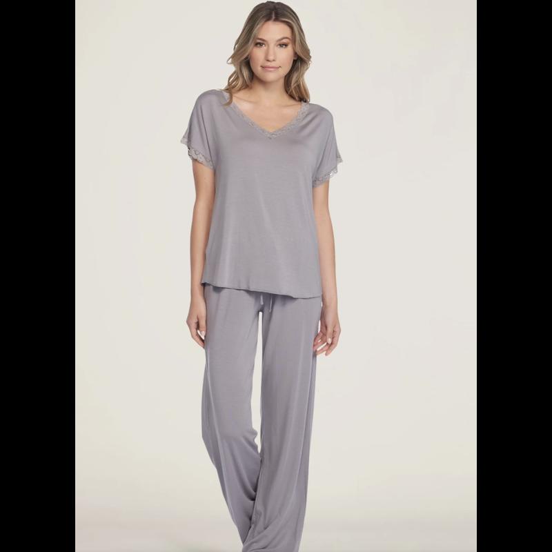 Barefoot Dreams Luxe Milk Jersey Short Sleeve Set- Pewter