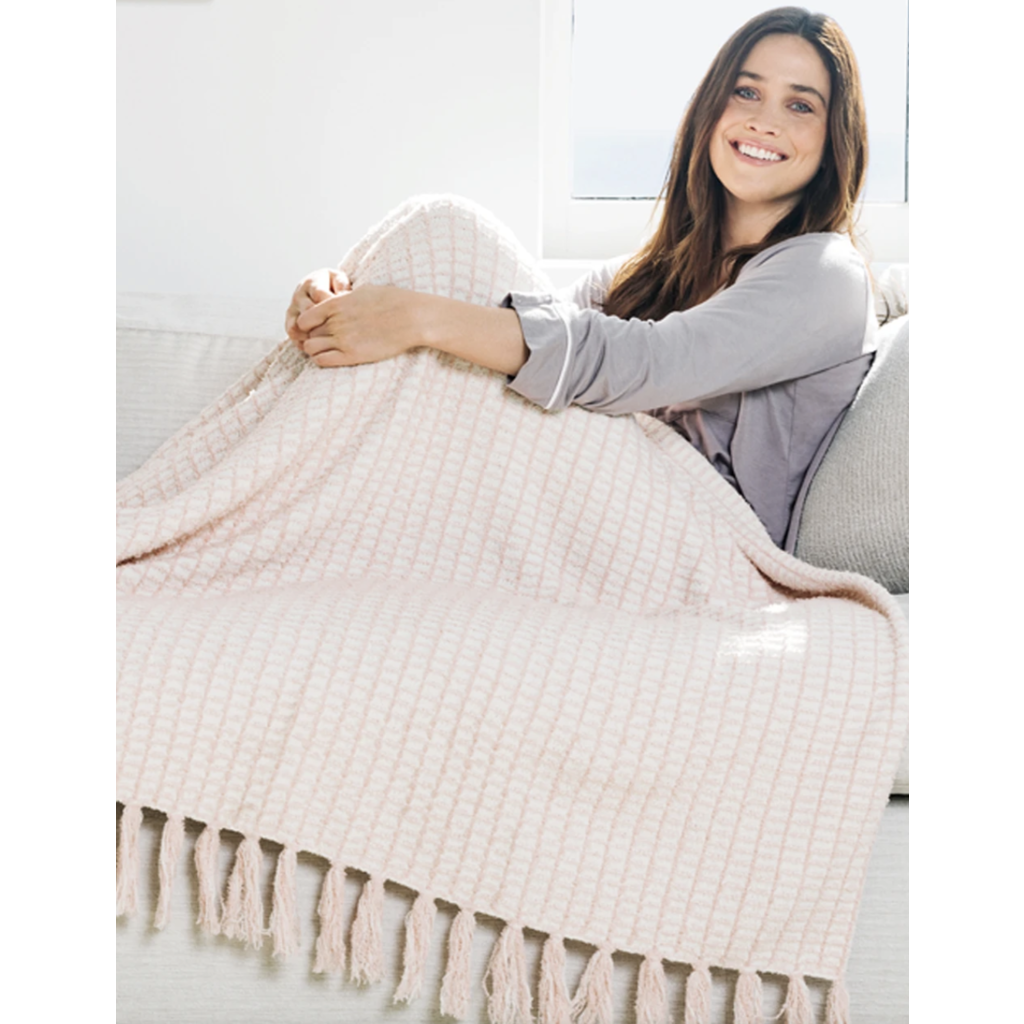 Barefoot Dreams Cozy Chic Beach House Blanket Pink Sand/Cream