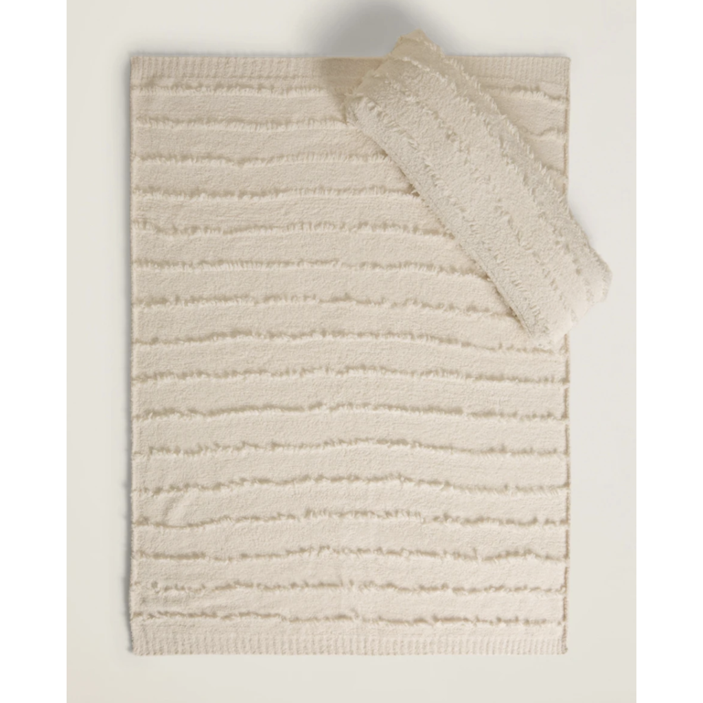 Barefoot Dreams Cozy Chic Placed Fringe Blanket Cream