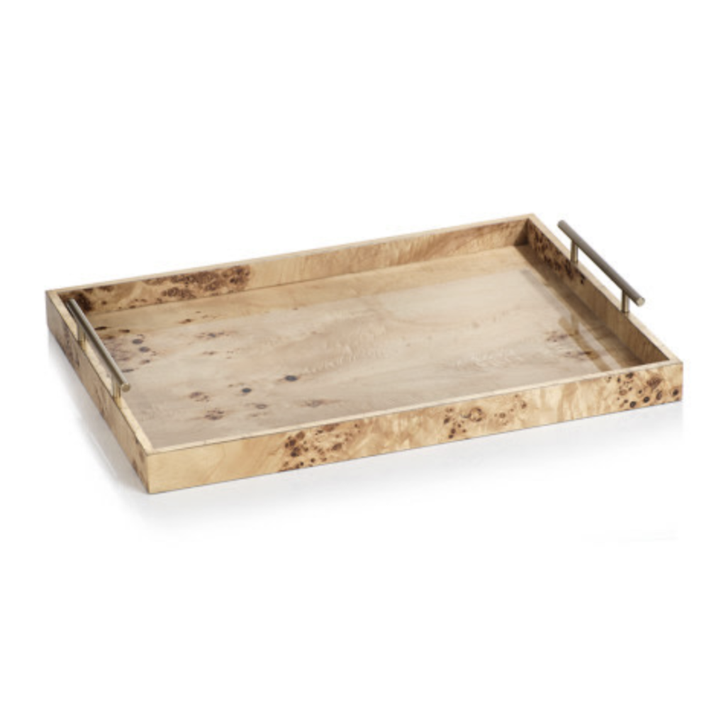 Zodax Leiden Burl Wood Rectangular Tray 13""