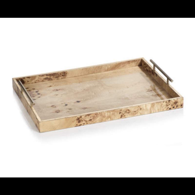 "Zodax Leiden Burl Wood Rectangular Tray 30"""