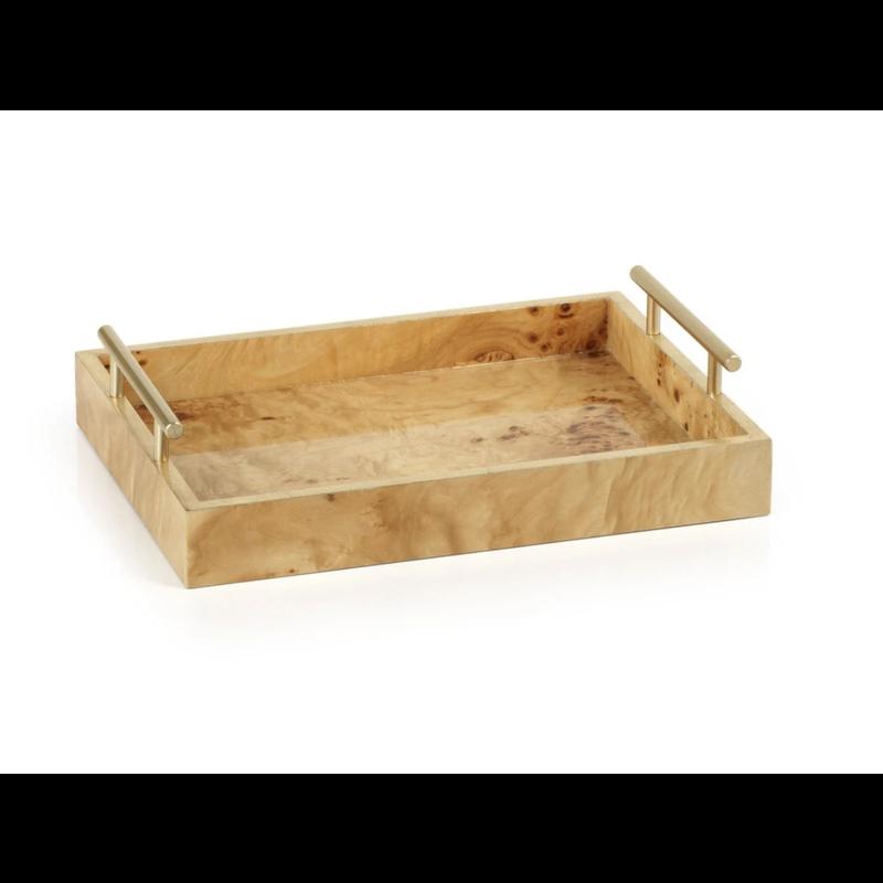 "Zodax Leiden Burl Wood Rectangular Tray 9.5"""