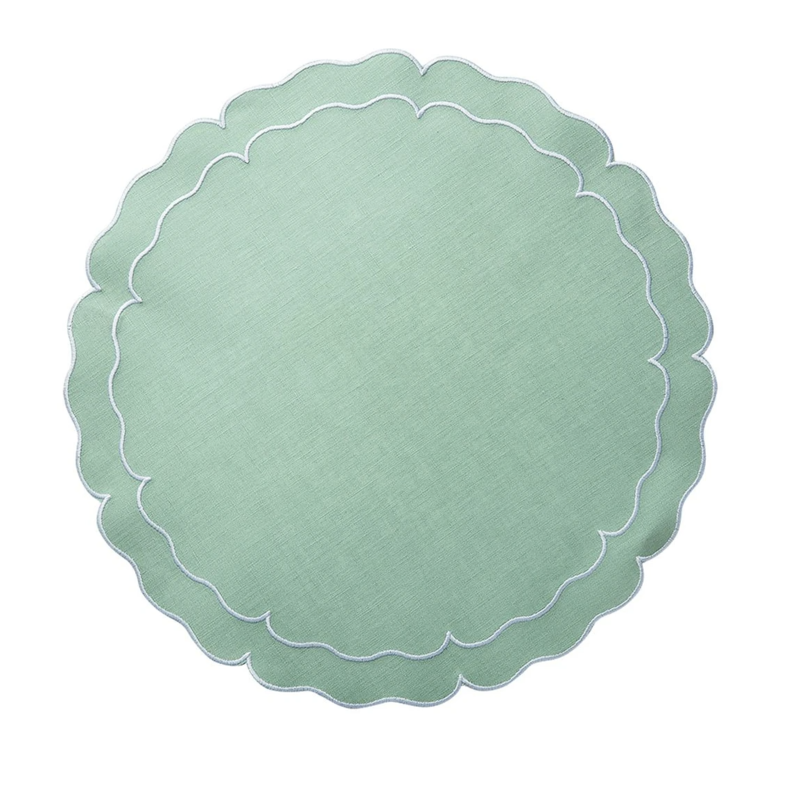 Skyros Designs Linho Scalloped Round Placemat Ice Blue