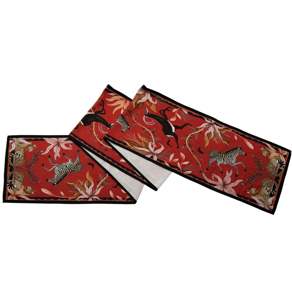 Ngala Trading Sable Red Table Runner Large
