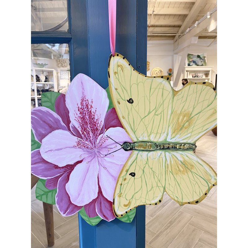 Molly Jahncke Azaleas & Butterfly Wooden Door Hanger