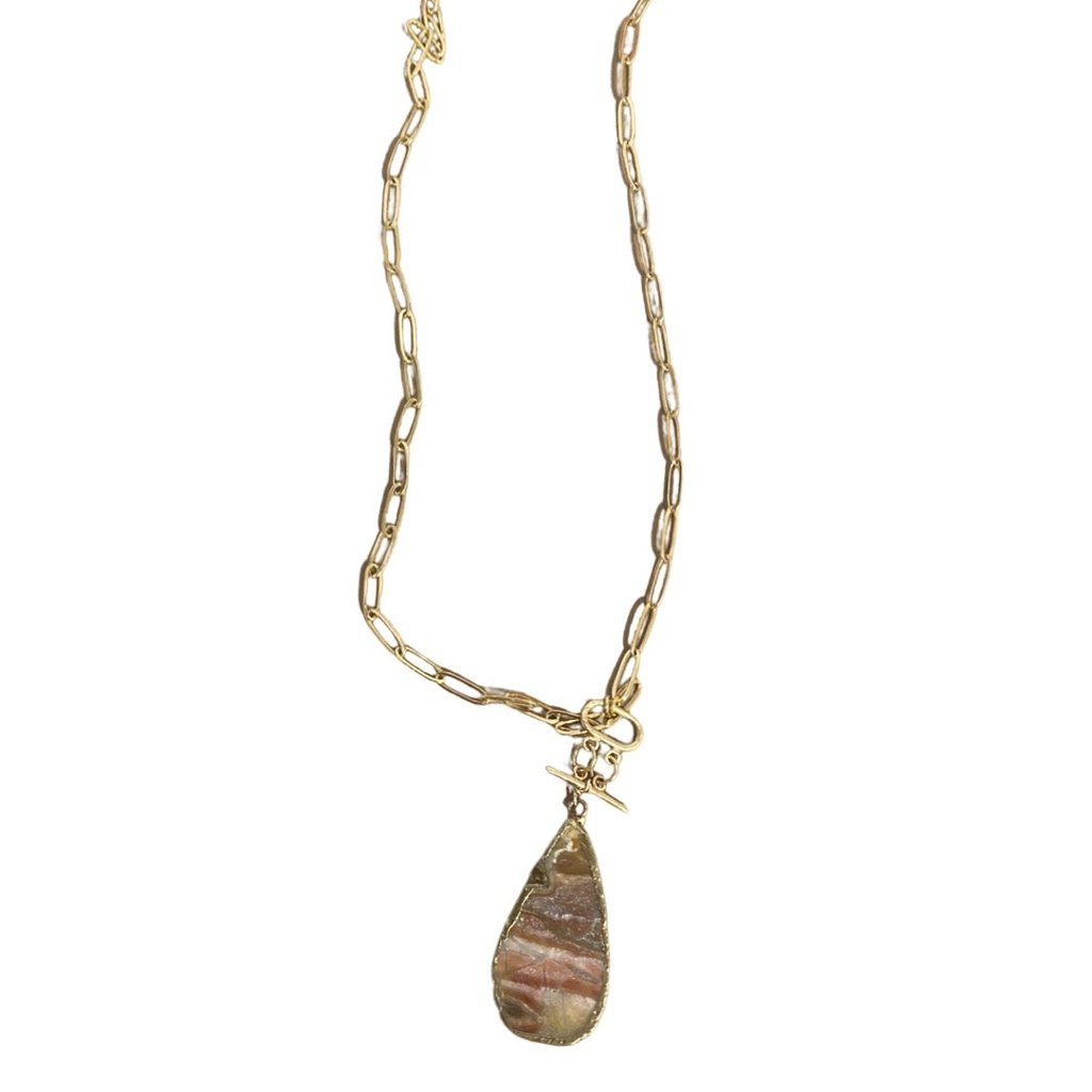 Laura McClendon Agate on Long Gold Chain