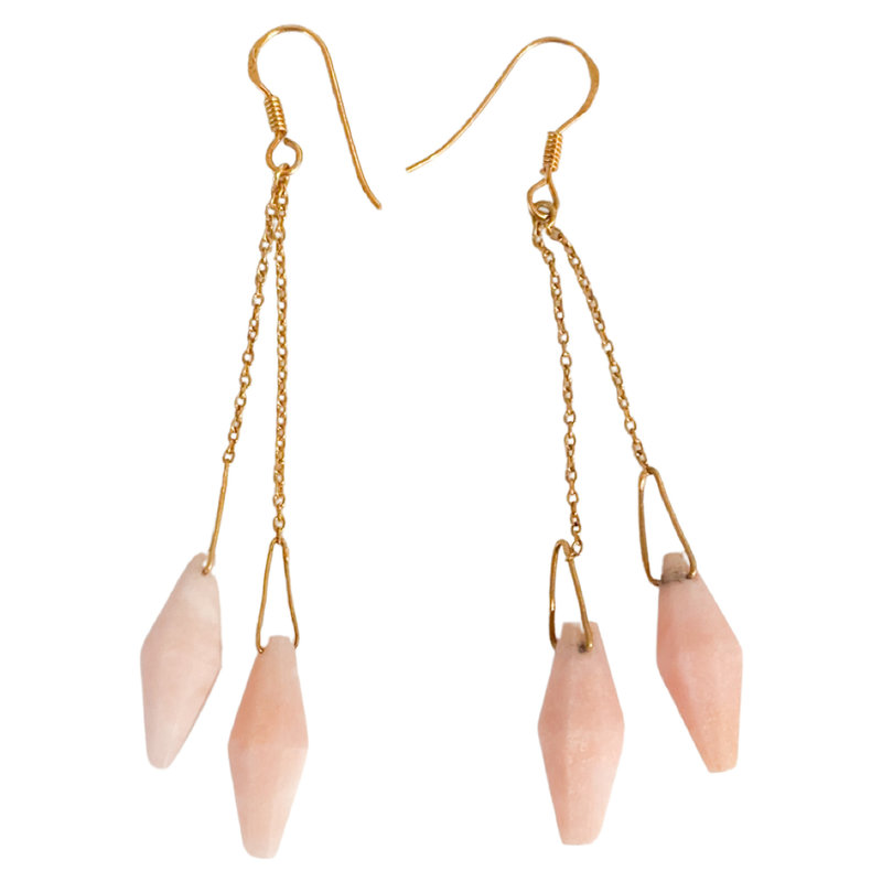 Benazir Collection Ria Earrings in Pink Opal