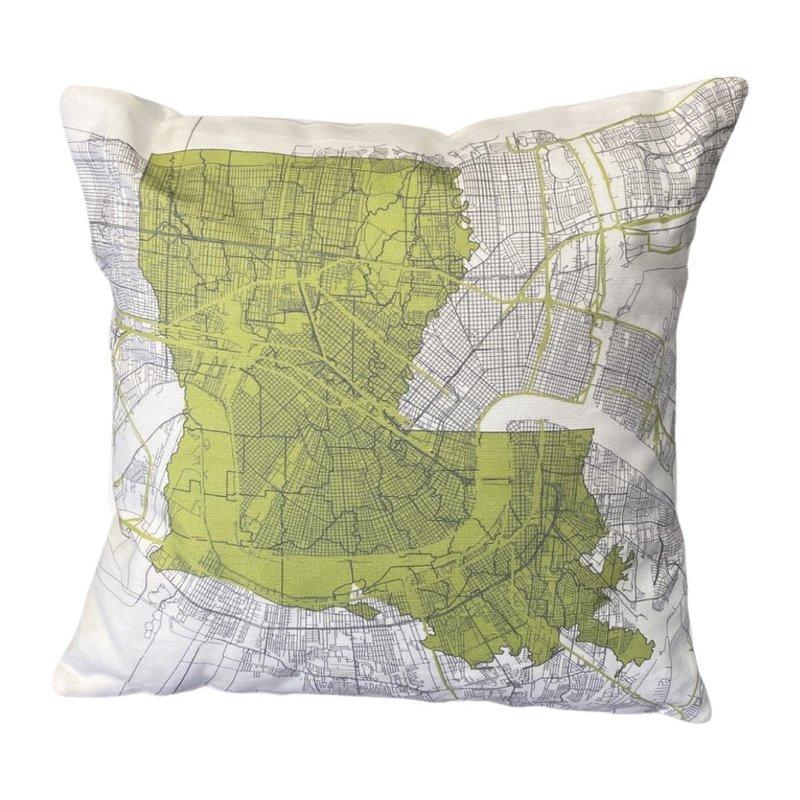 Ellen Macomber Ellen Macomber CSMT 12 x 12 LA Map NOLA Green Pillow
