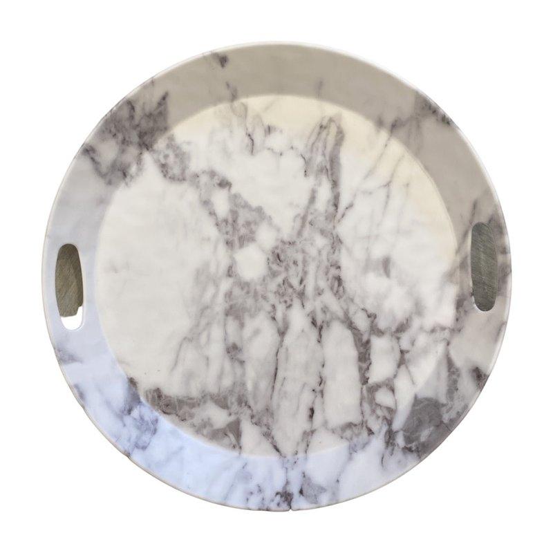 Merritt White Marble Round 14 in Round Tray with handles