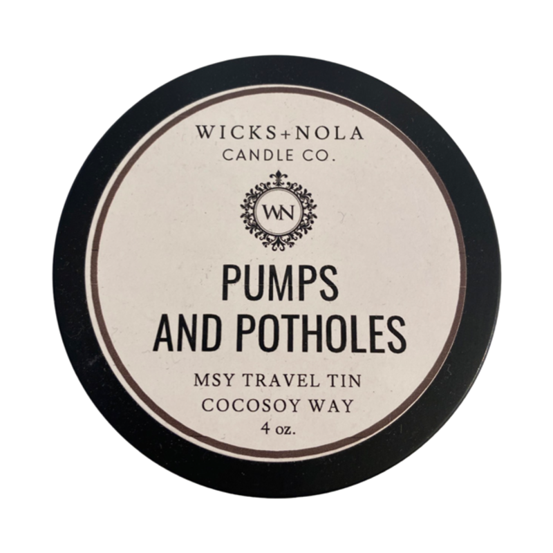 Wicks + Nola Candle Co. MSY Tin Pumps and Potholes Candle