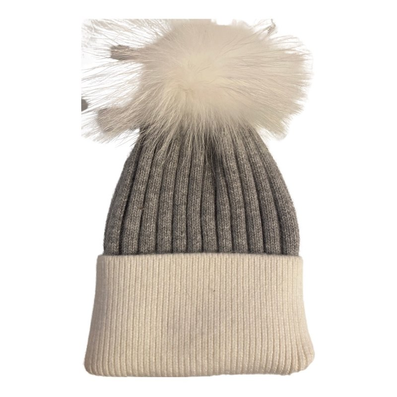 Patricia Green Knit Hat with Fur Pouf