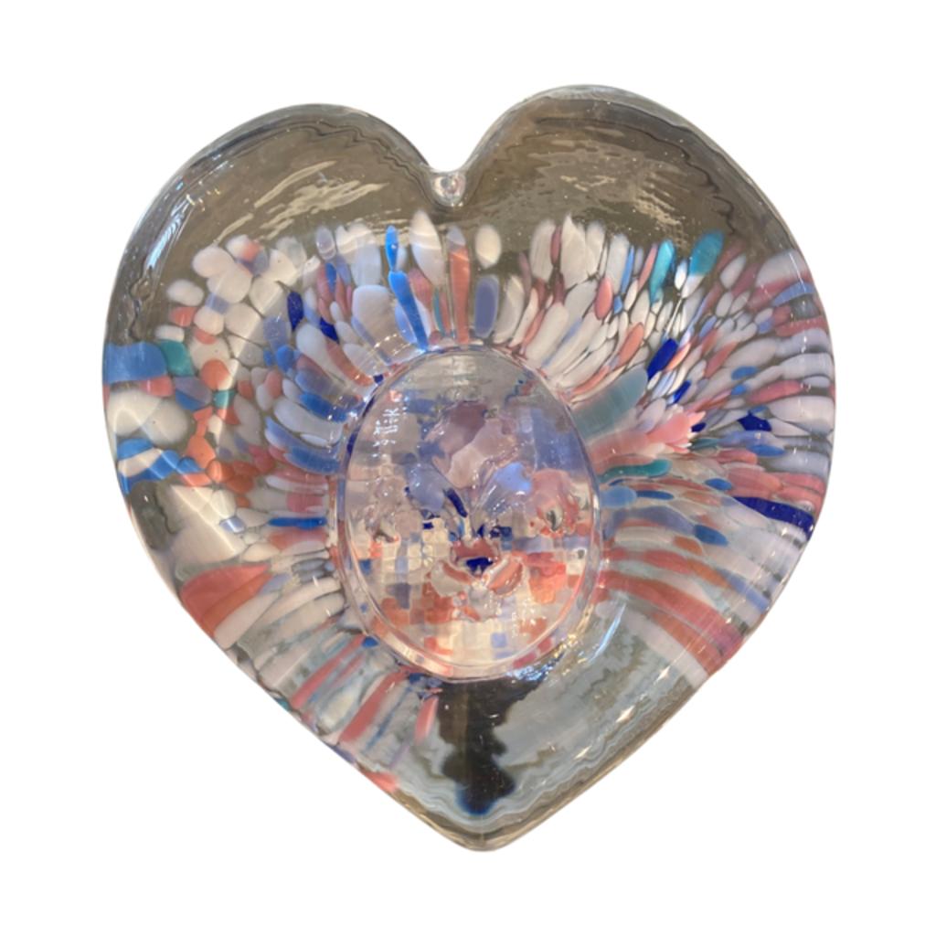 Ridge Walker Glass Fleur de Lis Heart Paperweight
