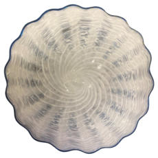 Large White Plate with Blue