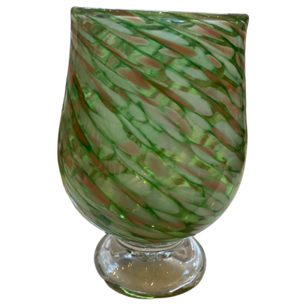 Green/Pink Swirl Footed Glass