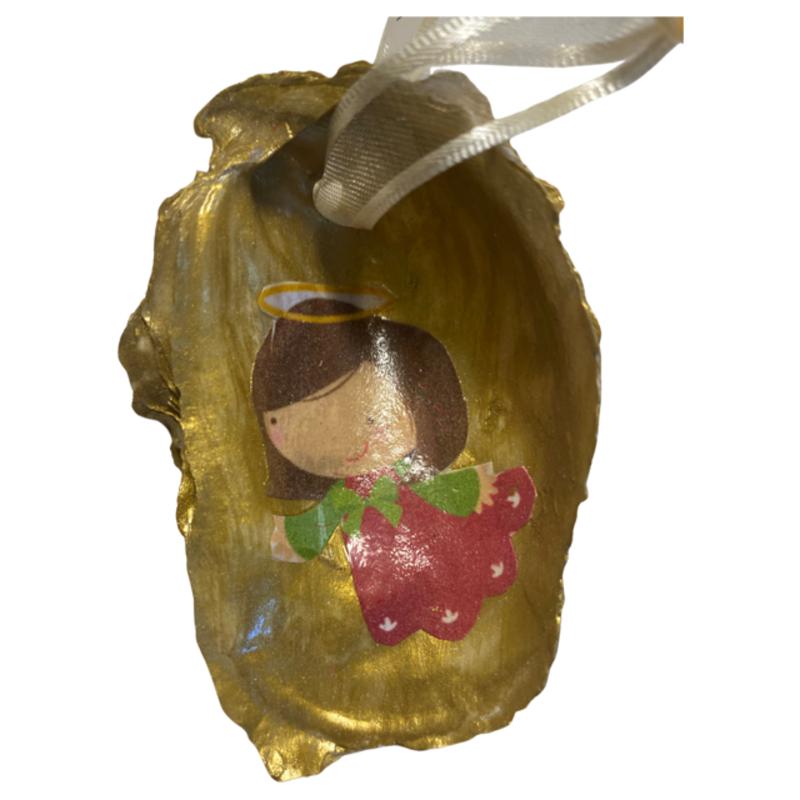 Nancy Blouin Angel Decoupage Oyster Ornament