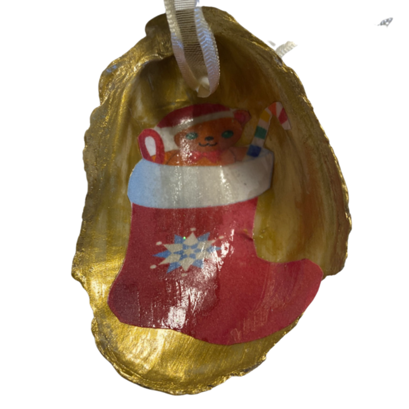Nancy Blouin Christmas Stocking Decoupage Oyster Ornament