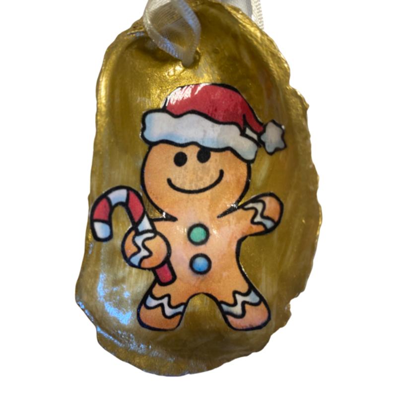 Nancy Blouin Ginger Bread Man Decoupage Oyster Ornament