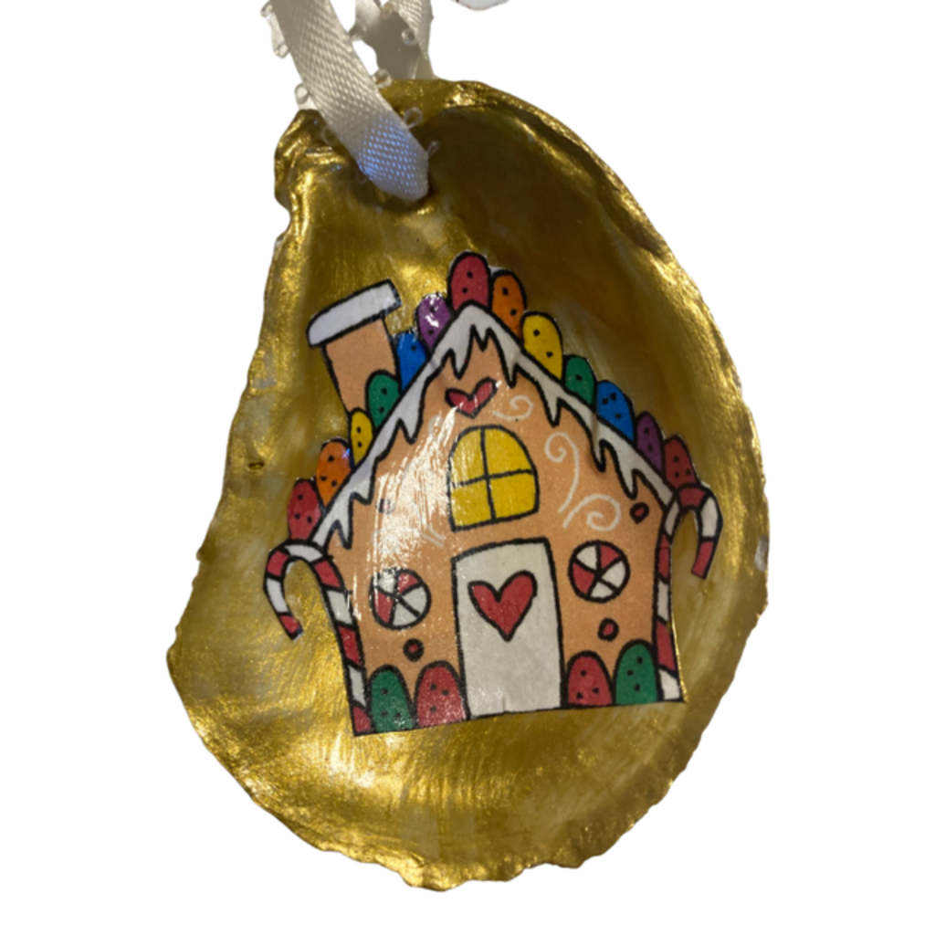 Nancy Blouin Gingerbread House Decoupage Oyster Ornament