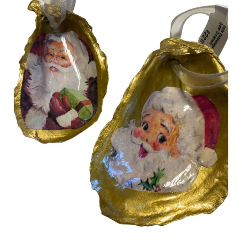 Nancy Blouin Santa Decoupage Oyster Ornament