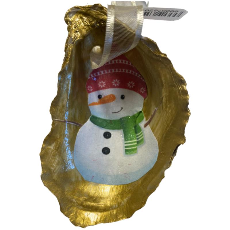 Nancy Blouin Snowman Decoupage Oyster Ornament