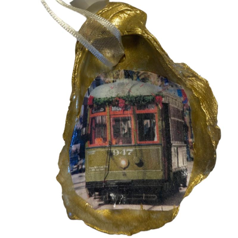 Nancy Blouin Streetcar Decoupage Oyster Ornament