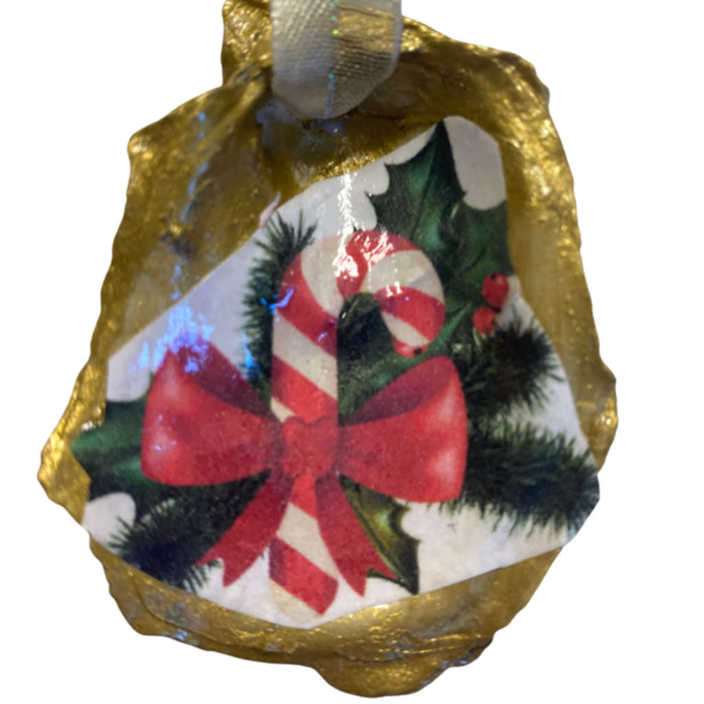 Nancy Blouin Candy Cane Decoupage Oyster Ornament