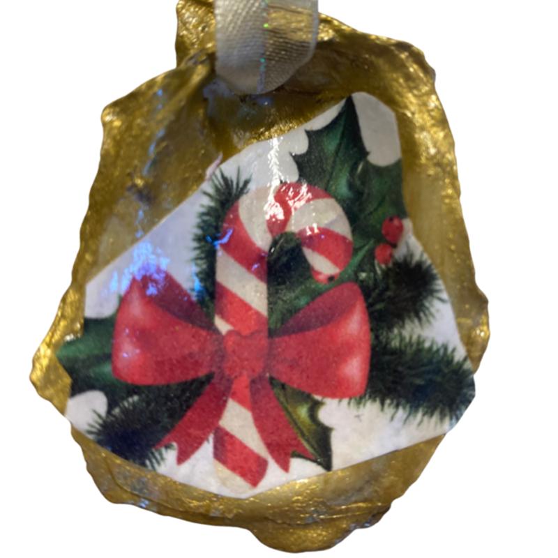 Nancy Blouin Candy Cane Decoupage Oyster Ornament