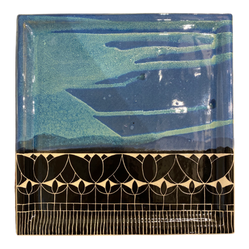 Rachael DePauw Blue/Black Tulip Serving Plate (square)