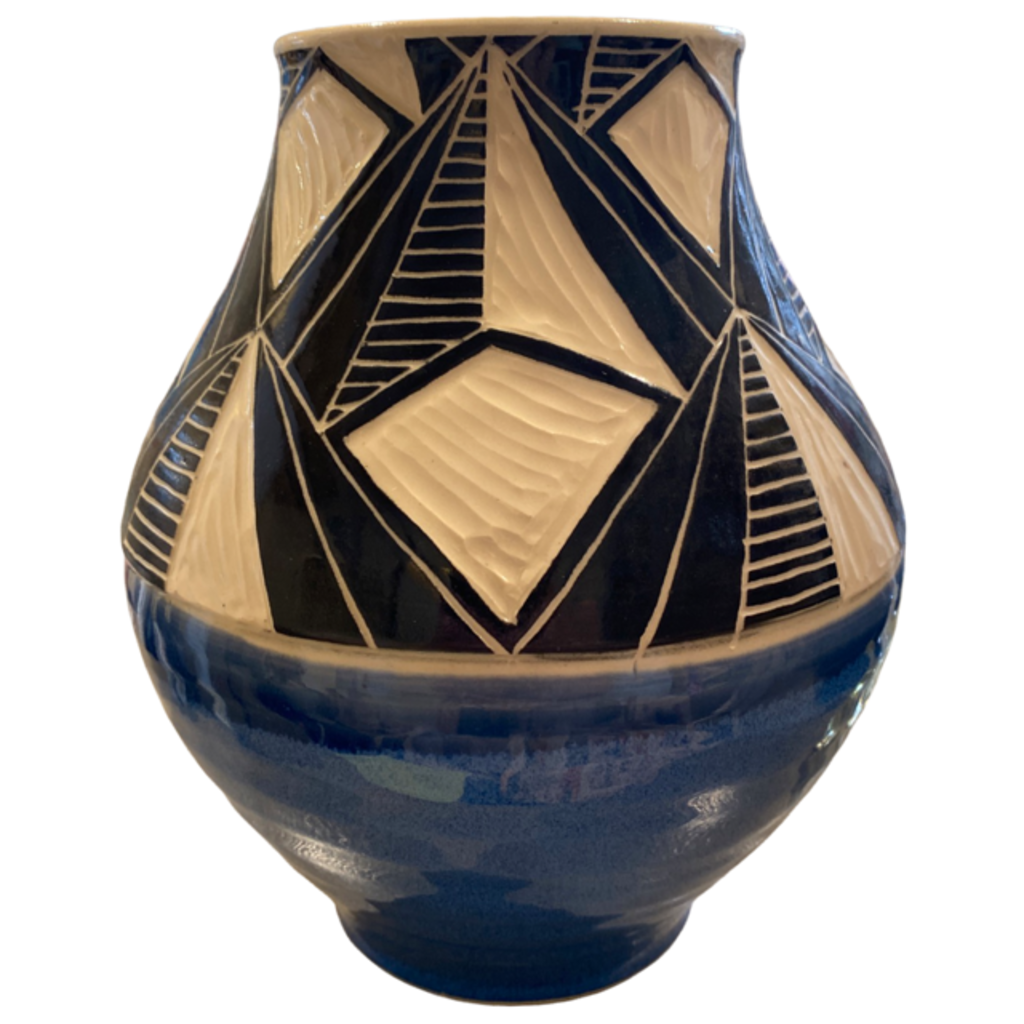 Rachael DePauw Geometric Blue Vase Large