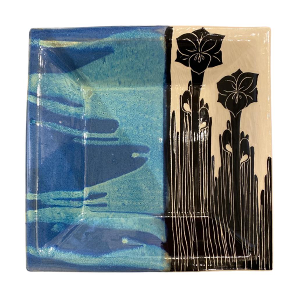 Rachael DePauw Blue/Black Flower Serving Bowl(square)