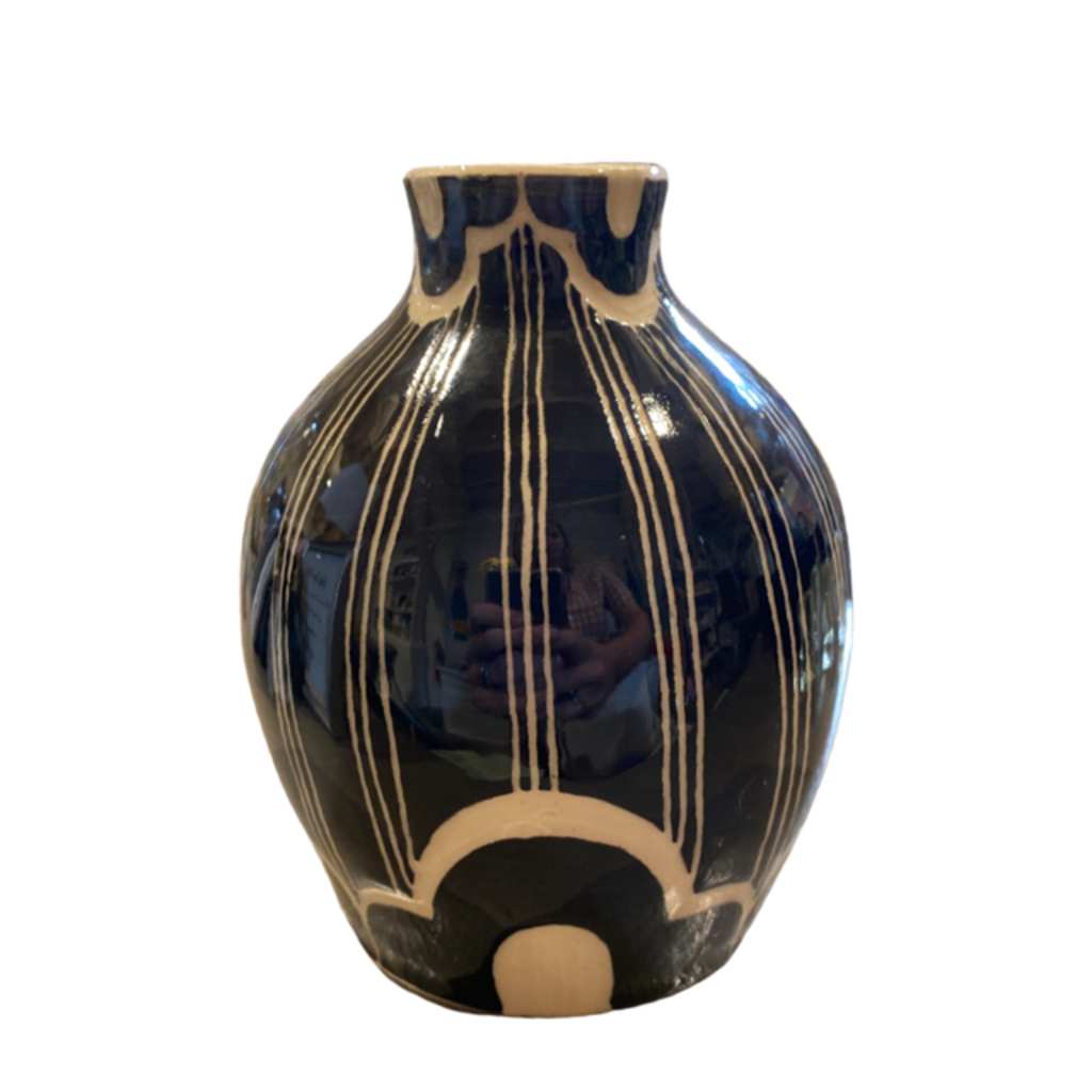 Rachael DePauw Black/White Patterned Vase