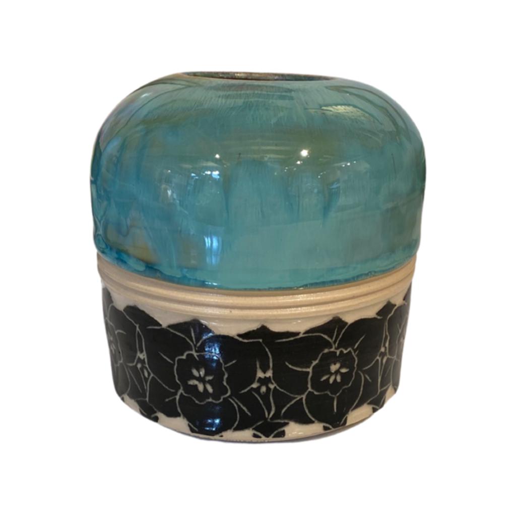 Rachael DePauw Blue Floral Vase