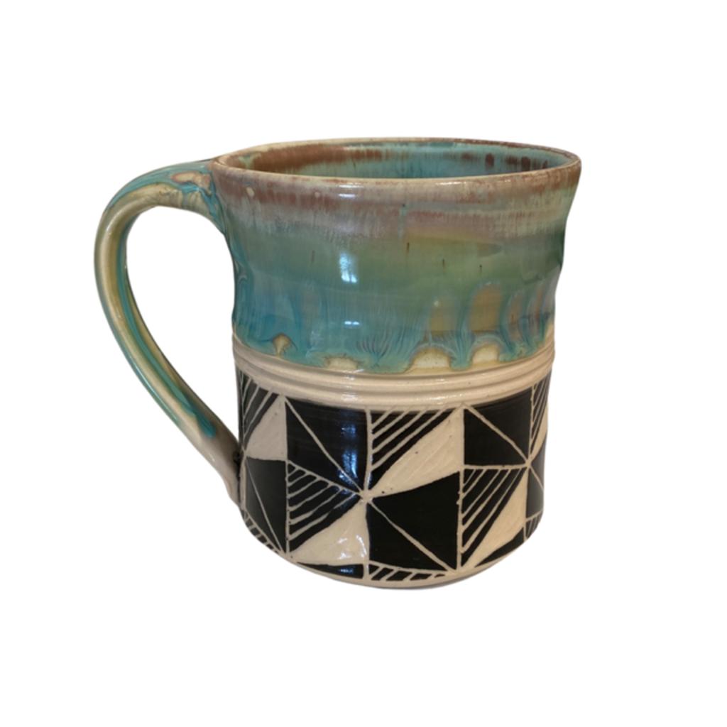 Rachael DePauw Green Geometric Mug