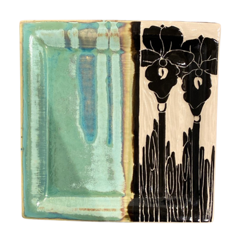 Rachael DePauw Tall Iris Plate- lunch (square)