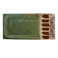 Rachael DePauw Rectangular Serving Platter Green/Brown Flowers(large)
