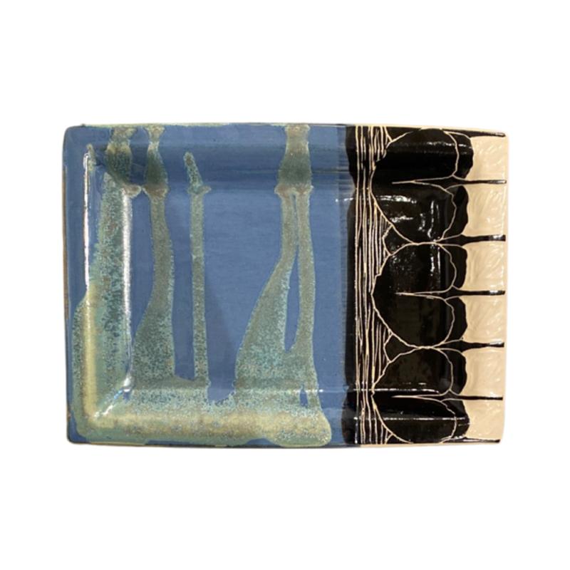 Rachael DePauw Blue Rectangular Serving Platter (medium)