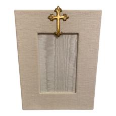 Jan Sevadjian 4x6 Bone Gold Cross Frame (Vertical)