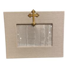 Jan Sevadjian 4x6 Bone Gold Cross Frame (Horizontal)