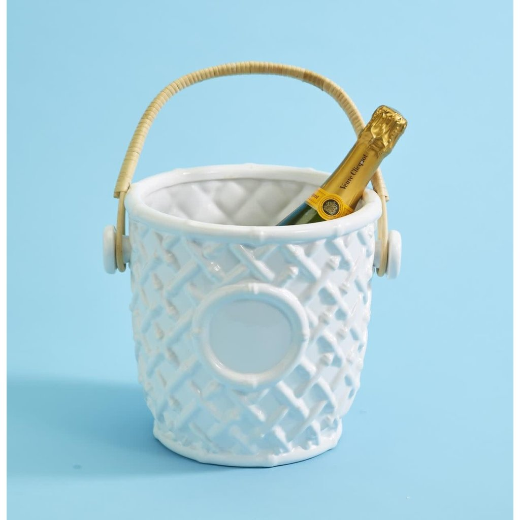 Two's Company Hampton Faux Bamboo Ceramic Champagne/Wine Bucket with Bamboo Handle