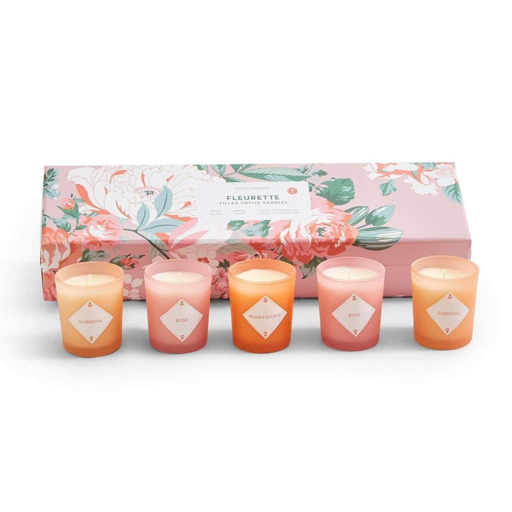 Two's Company Fleurette Set of 5 Scented Candles in Gift Box